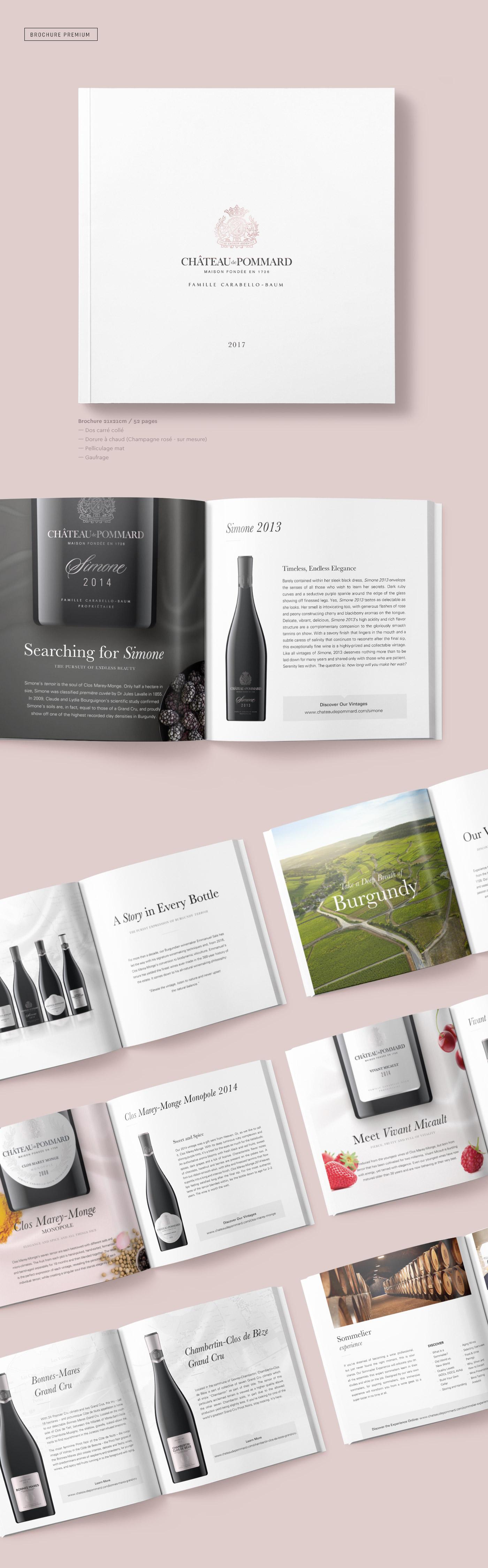 Brochure vins dos carré collé gaufrage dorure